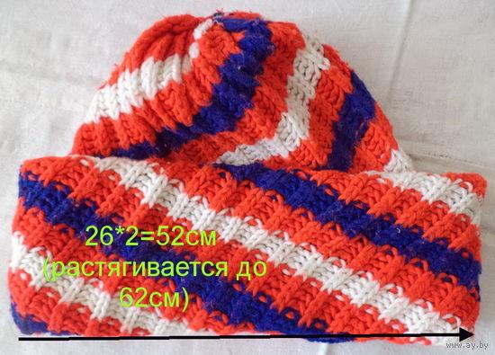 Шапка вязаная в полоску красно-бело-синяя, б.у, р.52-60