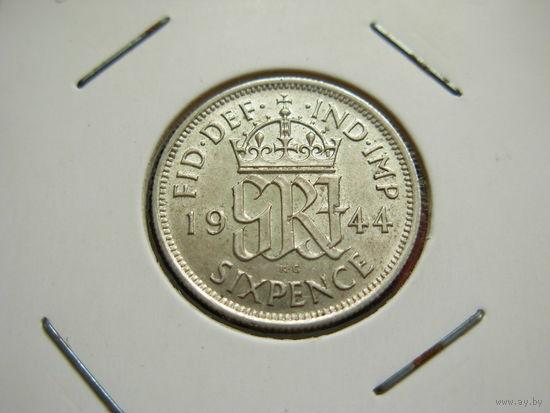 Великобритания 6 пенсов 1944 Серебро Георг VI KM# 852