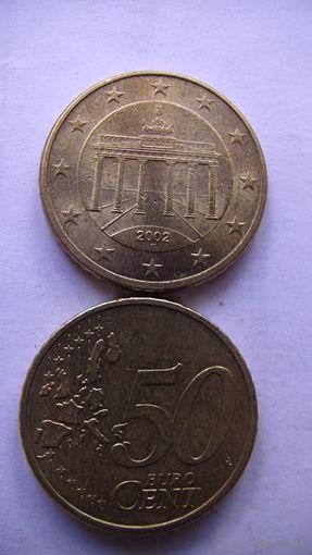 Германия 50 евро центов 2002г. F  No1  распродажа