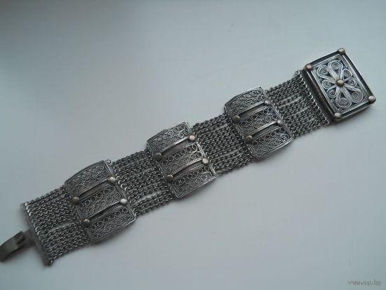 Старинный браслет , филигрань ,мельхиор .