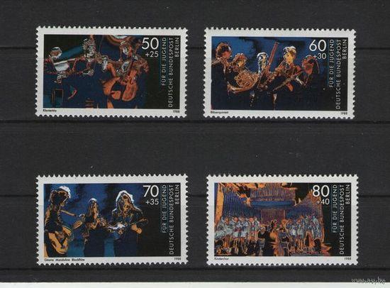 Западный Берлин 1988 г. Mi N 807-810** Музыка и Молодежь (Доставка Бесплатно)