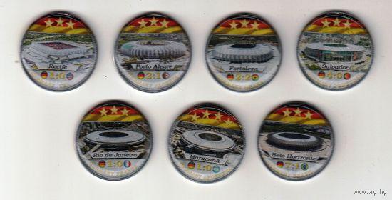 Бразилия сувенирный набор 5 крузадо 1986-88 7 монет в коробке Чемпионат мира 2014 в Бразилии
