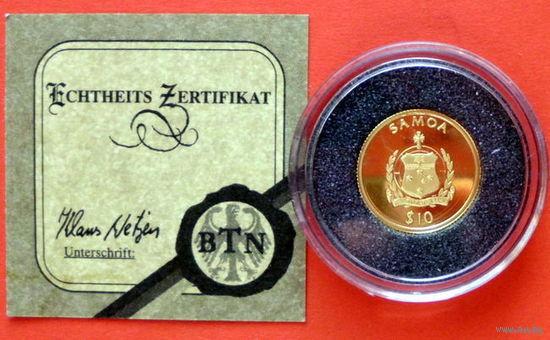 Самоа 10 $, Папа Бенедикт XVI, 2006, золото , Proof, Сертификат