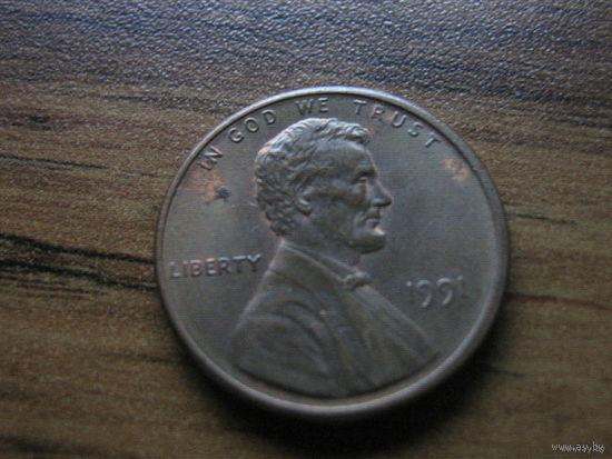 США 1 cent 1991