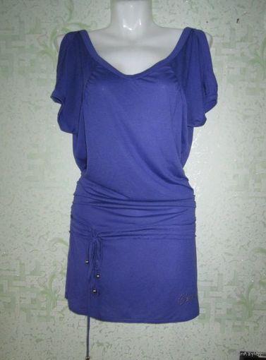 Сиреневая туника (мини-платье) с открытыми плечами и глубоким вырезом на спинке, р.44.