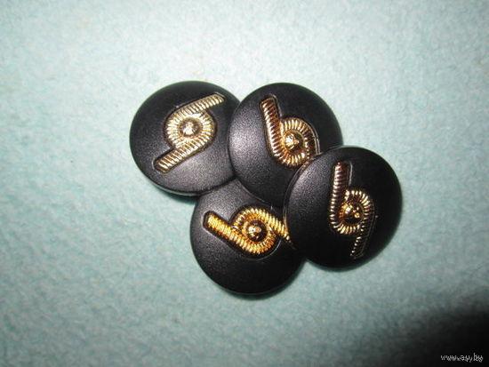 Пуговица пластмассовая на ножке (составная), черная с золотом 24 мм