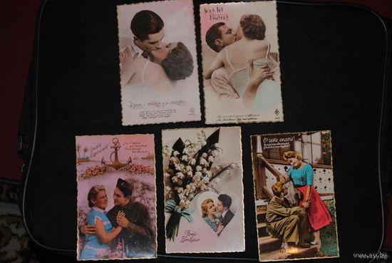 """Сборная серия старинных открыток, по теме: """"ЛЮБОВЬ"""" - моя коллекция до 1945 года - антикварная редкость - цена за всё, что на фото, по отдельности пока не продаю!"""