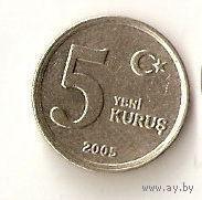 Турция 5 новых куруш 2005г.  распродажа