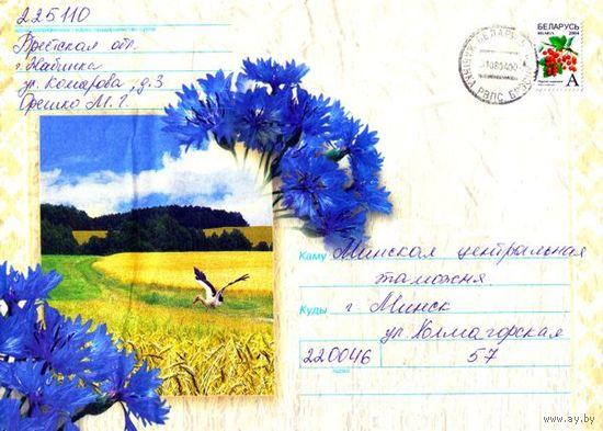 """2008. Конверт, прошедший почту """"Бусел на ржаном поле"""" (размер 26х16 см)"""