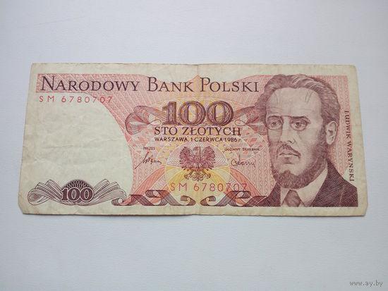 Банкнота 100 злотых 1986г. Польша