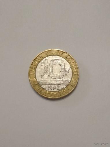 Франция / 10 франков / 1992 год