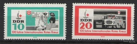 """ГДР 1963 Mi N 956-957** 100 лет Международной организации  """"Красный крест"""""""