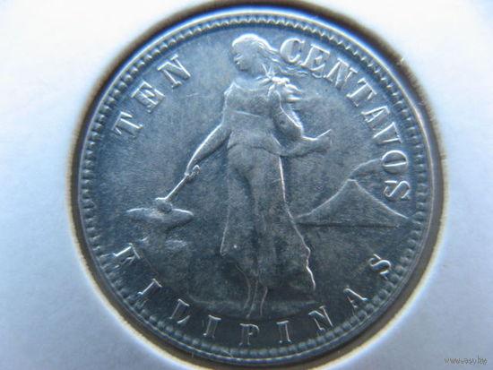 Филиппины 10 сентаво 1945 г. серебро