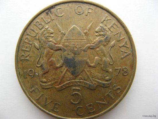Кения 5 центов 1978 г.