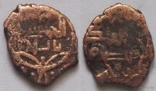 Дербент медный дирхем малик Музаффар б Мухаммед 530-566 г.х.(1135-1170 г.р.х.) тип 555 г.х. халиф Аль-Муктафи II Лиармриаллах 1136-1160 г.р.х.