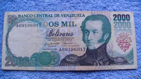 Банкнота Венесуэла 2000 боливаров 1995г  всадники  A69196017   распродажа