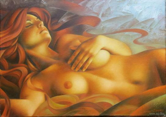Картина маслом - Спящая обнаженная70х50 Автор Артур Брагинский, Украина, г. Мукачево. Есть все документы на картину