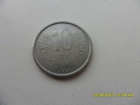 10 центов 1996 год Бразилия - из копилки