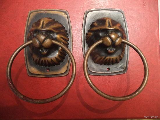 Ручки дверные - головы льва ( омеднённый силумин, из СССР,  пара)