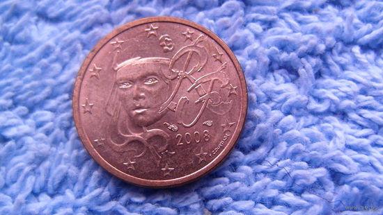 Франция 2 евро цента 2008г. штемпельный блеск распродажа