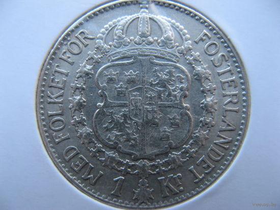 Швеция 1 крона 1939 г. серебро
