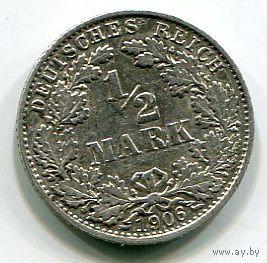 ГЕРМАНИЯ - 1/2 МАРКИ 1906 D