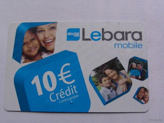 Франция телефонная карточка 10 евро.  Lebara mobile No1   распродажа