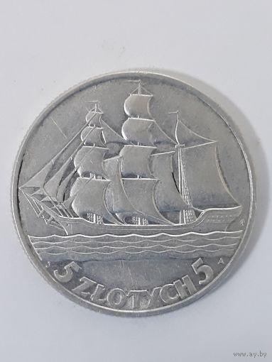 5 злотых 1936 г. с 1 рубля