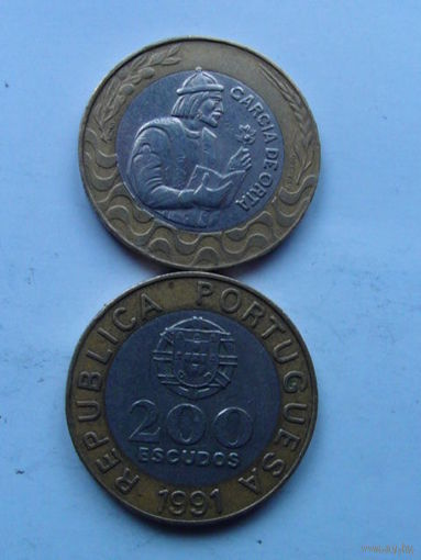 Португалия 200 эскудо 1991 г.  распродажа