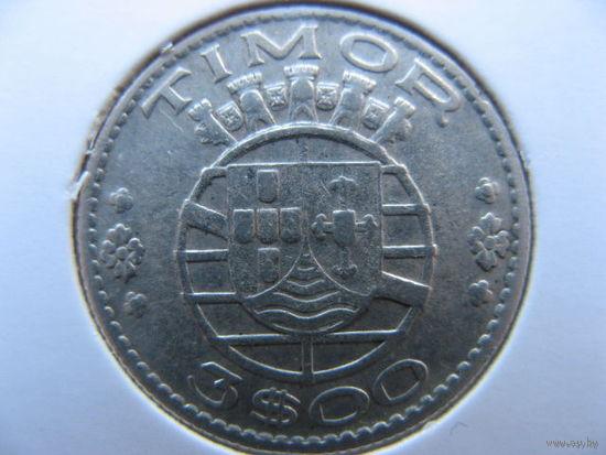 Тимор Португальский 3 эскудо 1958 г. серебро