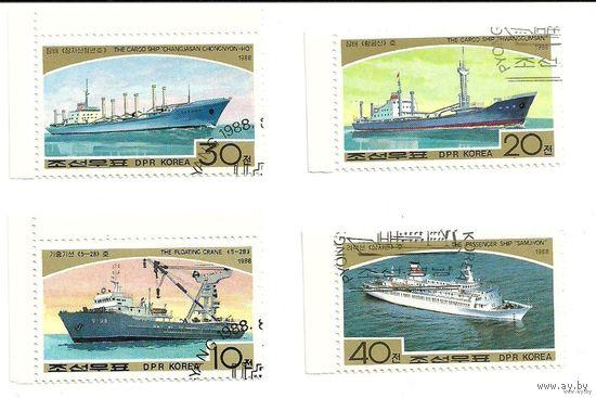 Транспорт пароходы КНДР 1988 г. (Корея)
