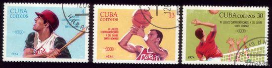 3 марки 1974 год Куба 12 игры