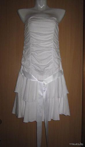 Белоснежное нарядное платье-бандо, р.44. Хлопок.