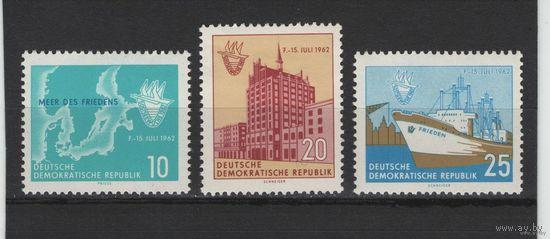 ГДР 1962 Mi N 898-900** Неделя Балтийского Моря в Ростоке