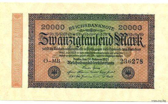 Германия. 20.000 Марок 1923 P85b UNC