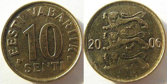 Эстония 10 центов 1992г.   распродажа
