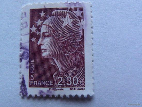 Франция марка тёмно каричневая 2.30 евро    распродажа