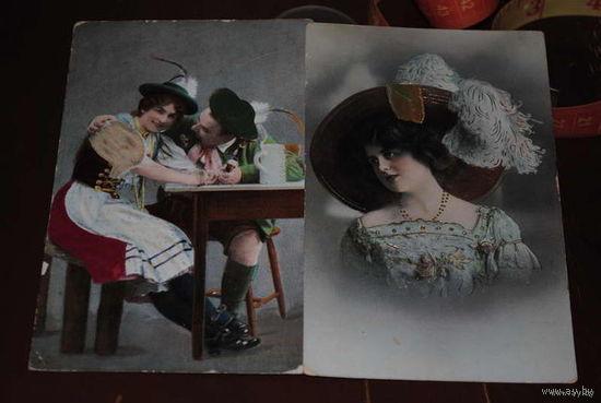 Две дореволюционные баварские открытки/почт.карточки до 1917 года - с элементами ручной работы., - местами на одежде выложена ткань: на рукаве у дамы и на муж.шляпе. Открытки довольно редкие, с вытесн