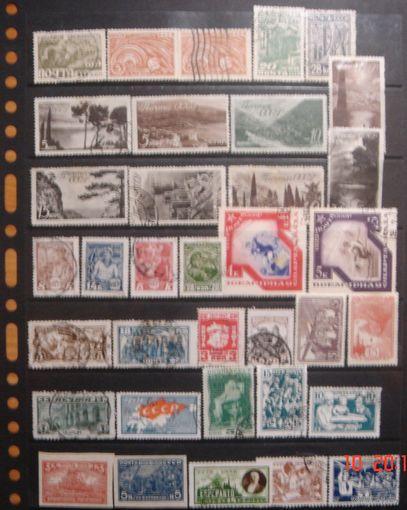 Большая подборка чистых и гашеных довоенных марок СССР, есть дорогие и редкие, очень высокий каталог