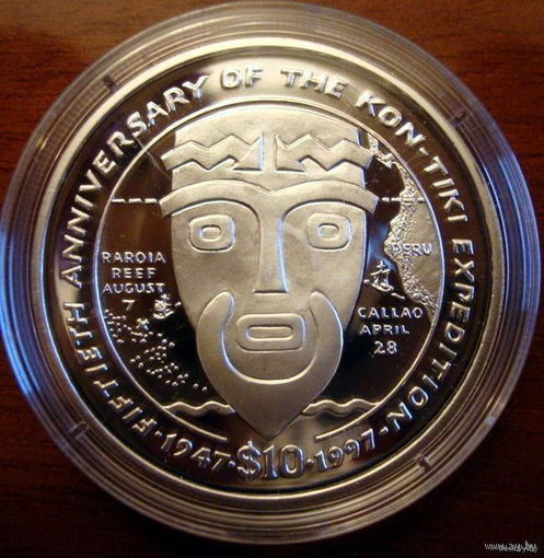 Либерия , 10 долларов, 1997, Кон-Тики, серебро унция, пруф