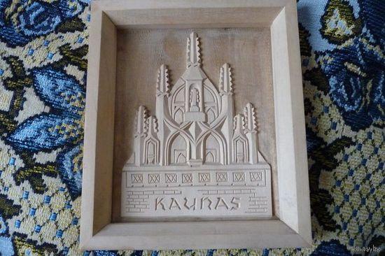 """Картина/ панно деревянное """"Kaunas"""""""