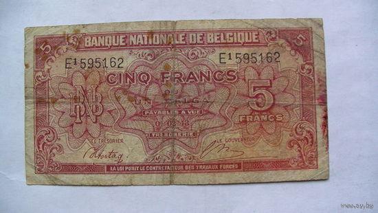 Бельгия 5 франков 1943 год. распродажа