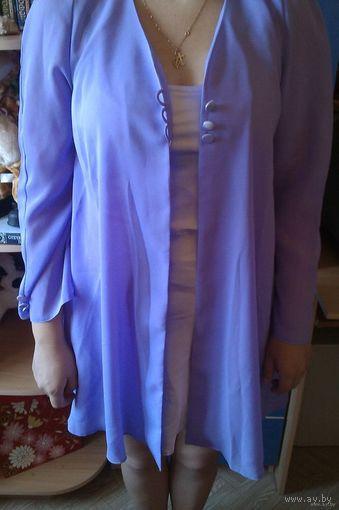 Красивое светло фиолетовое вечернее платье 2в1