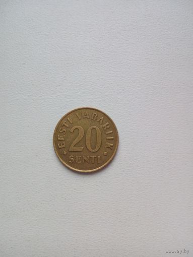 Эстония 20 центов  1992г.