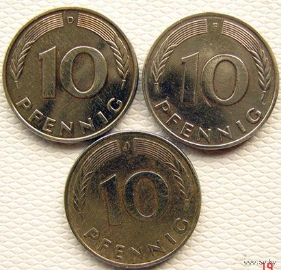 ФРГ. 4 монеты по 10 пфенигов разные, цена короче миниюбки.
