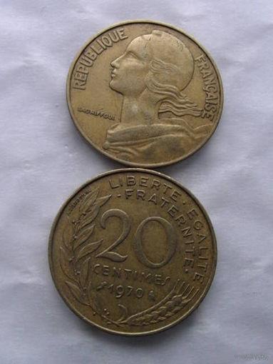 Франция 20 сантим 1970г  распродажа