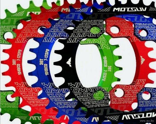 ОВАЛЬНАЯ ЗВЕЗДА ДЛЯ ВЕЛОСИПЕДА ~ Red 38T Oval Motsuv ~ эффектный перламутрово-рубиновый цвет