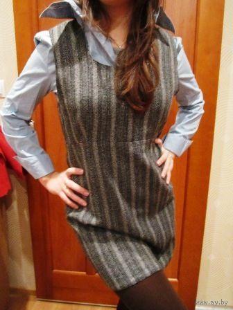 Платье ОФИСНОЕ -тёплое Италия в модно серых тонах р.46-48