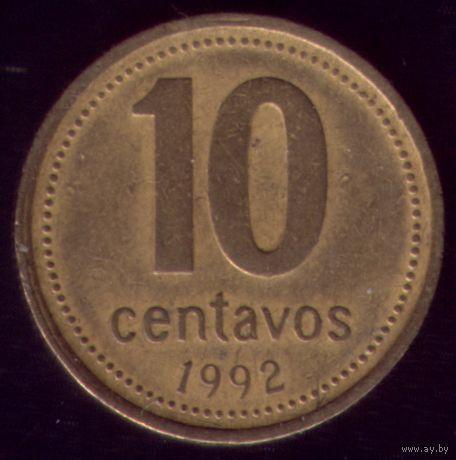 10 сентаво 1992 год Аргентина Круглая