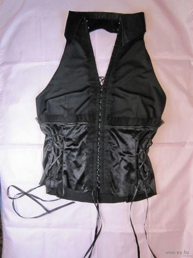 Нарядная блузка-рубашка на шнуровке, с полуоткрытой спинкой, р.46. Новая.